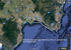 Rotta della Traversata Cagliari Villasmius in Kitesurf 6 Maggio 2017 KiteGeneration